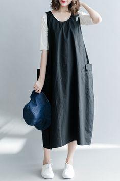 Casual Sleeveless Cotton Dresses Women Long Clothes Q1869