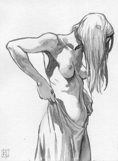 Contemporary comics artist and instructor Luigi Critone, standing semi-nude female watercolor painting. #NSFW