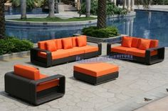"""Modern Furniture All-Weather Collection: Outdoor Set with Pumpkin Sofa, Loveseat, Chair and Ottoman by ModernLineFurniture. $2795.95. Set includes 6 Armless Chairs, 6 detachable arms, and Ottoman. In stock in NJ warehouse.. Ships within 4-5 days.. Easy maintenance, cleans with soap and water. Outdoor lounger features: Resin wicker material and frame w/ rust-proof coated aluminum. Dimensions: Chair: 44"""" L x 36""""W x 30""""H (w/out arms: 29""""L), Ottoman: 36"""" L x 36""""W x 16""""H"""