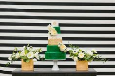black and white, green and gold dessert table -  photo by Sara & Rocky Photography