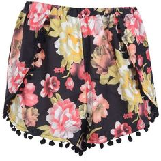 Boohoo Janey Floral Print Pom Pom Runner Shorts ($7) ❤ liked on Polyvore featuring shorts, bottoms, micro shorts, mini shorts, party shorts, sequin shorts and hot shorts