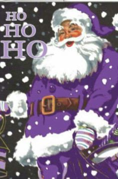 This is so wrong Santa being purple but it's purple not pink so I'm okay!
