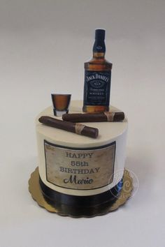Jack Daniel's and Cigar Cakeby Creative Cakes Bakery in Tinley Park and Naperville Illinois Serving the Southwest and Western Suburbs of Chicago. Alcohol Birthday Cake, 21st Birthday Cake For Guys, 22nd Birthday Cakes, Alcohol Cake, Special Birthday Cakes, 55th Birthday, Adult Birthday Cakes, Cigar Cake, Cigar Cupcakes