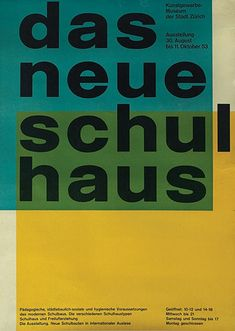 1953 poster, advertisement for The New School House designed by Carlo Vivarelli.