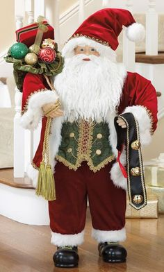 One can imagine this Santa Claus is on his way to deliver gifts and Christmas cheer to your home, as he is laden with working jingle bells and a gold-tasseled All Things Christmas, Christmas Holidays, Christmas Decorations, Candy House, Native American Crafts, Gifts Delivered, Gnome, Burgundy And Gold, Trendy Tree