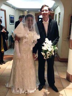 """Nous avons eu le plaisir d'accueillir récemment un joli couple de mariés qui se sont dit """"oui"""" au Capitole : toutes nos félicitations à M. et Mme Asfaux !"""