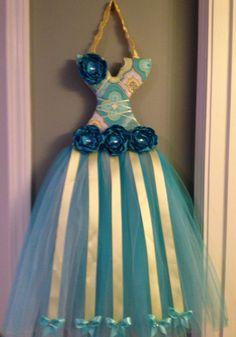 Tutu hair bow holder Aqua & yellow by LilybugsBowtique on Etsy, $30.00