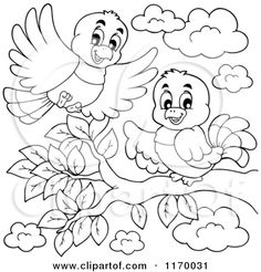 Cartoon of Outlined Happy Birds on and over a Branch - Royalty Free Vector Clipart by visekart