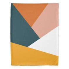 Shop Modern abstract geometric color block pattern duvet cover created by Elipsa. Orange Color Palettes, Modern Color Palette, Colour Pallette, Modern Colors, Colour Schemes, Color Patterns, Modern Color Schemes, Modern Patterns, Vintage Color Palettes