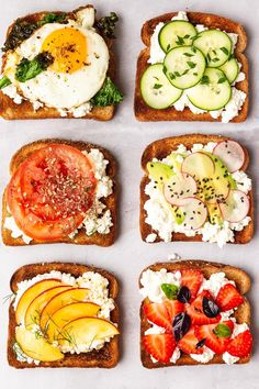 On today's Simple Sunday feature we are covering cottage cheese toast ideas! Get six recipe ideas for what to top on your cottage cheese toast! Cottage Cheese Breakfast, Cottage Cheese Recipes, Breakfast Toast, Breakfast Recipes, Cottage Cheese Diet, Breakfast Healthy, Healthy Snacks, Healthy Eating, Healthy Recipes