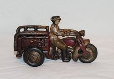 "Antique 1930s Cast Iron 3 Wheel Motorcycle ""Crash Car"" With Rider Christmas Gift by TheBouncingFrogs on Etsy"