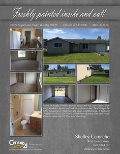Now PENDING Quiet neighborhood. 3 bedroom 1bath over 1/4 acre lot in Sedro Woolley.  Cheers to shelley Camacho (Gertz)  MLS # 1133393 http://22929applelane.c21.com/