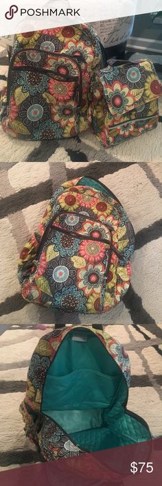 Vera Bradley backpack and lunch box Vera Bradley backpack and lunch box. Backpack is nice and large. It is in Good condition. Only wear is seen in pic number 5 on lower back. No stains on the outside. Small marks on the inside. Lunch box is in perfect condition on the outside. The fastener is coming apart on the inside, seen in pic 8. Smoke free pet free home. Vera Bradley Bags Backpacks