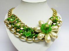 Pearl With Green Crystal Glass Giant Flower Statement Necklace
