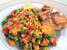 Chinese Pepper Tofu + Faux Fried Rice #vegan