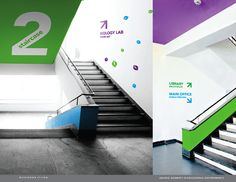 directional pattern on walls- leading up to destination Signaletic Corridor Design, Staircase Design, Corridor Ideas, Environmental Graphic Design, Environmental Graphics, Wayfinding Signage, Signage Design, School Signage, Office Graphics