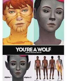 sims 4 werewolf non-default skin overlay Sims Four, Sims 4 Mm Cc, Sims 4 Body Mods, Sims 4 Mods, Face Peircings, Wolf Ears And Tail, Sims 4 Piercings, Sims Stories, The Sims 4 Skin