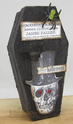 Create With Me: The Undertakers Coffin made with box from Michaels painted with Graphite Texture Paint, stamps from Tim Holtz and Waltzingmouse Halloween Coffin, Halloween Boo, Halloween Cards, Halloween Treats, Halloween Paper Crafts, Halloween Projects, Diy Party Gifts, Halloween Care Packages, Halloween Table Decorations