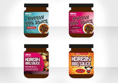 Packaging Design  A range of packaging concepts for Korean BBQ sauce. The graphics needed to echo the cultural DNA of Korea and Asian cuisine. The options range from typographical routes, food pictures to the more extreme and wacky option with a cartoon character featured on the face of the jar. The client was pleased with the range of solutions – production and artwork was handed backed to the lead agency. Korean Bbq Sauce, Eureka Moment, Food Pictures, Packaging Design, How To Memorize Things, Dna, Range, Graphics, Cartoon