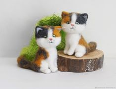 Little three-colored cat. felted toy made of wool – shop online on Livemaster with shipping