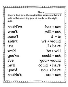 first grade contraction worksheets - Google Search