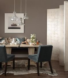 Small space smartness: two small tables put together to make a dining table. Chairs work for dining or living room. Bench by wall works for dining or extra seating. Charleston Grey Farrow And Ball, Dining Nook, Dining Table, Dinning Chairs, Gray Interior, Interior Design, Grey Wall Color, Taupe Color, Dining Room Colors