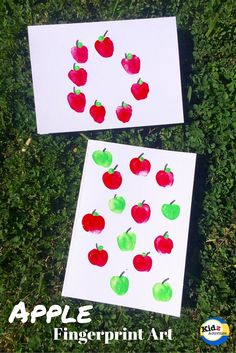 Create Apple Fingerprint Art, one of the easiest art activities for kids by Kidz Activities. Fall Preschool Activities, Christmas Activities For Kids, Preschool Crafts, Preschool Checklist, Toddler Activities, Learning Activities, K Crafts, Fall Crafts, Painting For Kids