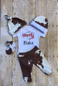 Country Boy Coming Home Outfit,Cow Hide Country Personalized Baby Boy Outfit, Newborn Outfit, Boy La - Products - Neugeborene Newborn Boy Clothes, Baby Outfits Newborn, Baby Boy Outfits, Kids Outfits, Newborn Photos, Coming Home Outfit Boy, Going Home Outfit, Country Boys, Country Babies