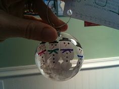 Homemade Handprint Snowman Christmas Ornament.