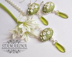 """Polymer clay pendant and earrings set """"Leticia""""."""