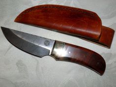 Custom Damascus Knife w/ Filework, Amboynia Burl Handle and Brass Bolster