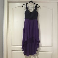 Bebe high low dress Sweetheart cut, silk black and purple high low dress. Lined bottom half (no slip needed) and lining in the top for a no bra needed look. No stains, rips or tares. Great condition only worn once! bebe Dresses High Low