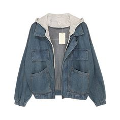 Faded Denim Jackets with Contrast Hood (145 AUD) ❤ liked on Polyvore featuring outerwear, jackets, tops, coats, zipper jacket, hooded zip jacket, zip jacket, zip denim jacket and long sleeve jacket