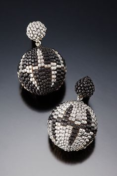 Beaded bead earrings by Barbara Packer - multi-drop peyote stitch.