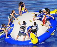 Grab your friends for some wet and wild fun with this inflatable water rocker! You can work together to balance, roll and rock around! Holds up to 8 people. Wet And Wild, Boat Stuff, Fun Stuff, Water Toys, Cool Inventions, Outdoor Toys, West Lake, Water Slides, Lake Life