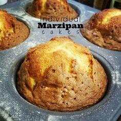 Individual Marzipan Cakes - adapted from Nigella Lawson recipe (individual cakes in a cup) Almond Recipes, Baking Recipes, Cake Recipes, Dessert Recipes, Marzipan Recipe, Marzipan Cake, Individual Cakes, Magdalena, Small Cake