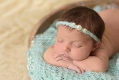 Baby Blue Triple Pearls Mohair Halo Tieback Headband