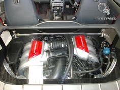 Porsche Cayman, Installation Of Transparent Engine Cover & Custom Painting Of Manifolds