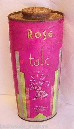 Art Deco Bright Vi-Jon Rose Talc Advertising Tin Talcum Powder Vintage Perfume