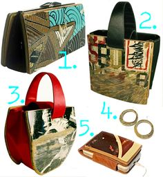 purses, ipod holder made out of used skateboards