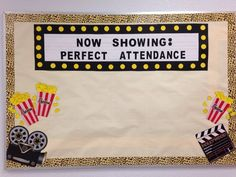 Perfect attendance bulletin board ~ Movie and popcorn for perfect attendance kids Attendance Display, Attendance Incentives, Attendance Board, Student Attendance, Attendance Ideas, Classroom Attendance, Classroom Procedures, Middle School Counseling, School Social Work