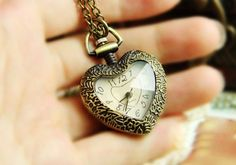 Vintage Fashion Heart Style Pocket Watch Necklace,looback.looback.com.jewelry,accessories,free shipping,