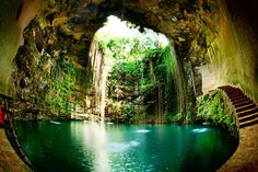 83 Unreal Places You Thought Only Existed in Your Imagination - Cenote Ik Kil in Yucatan, Mexico