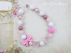 Pink Children's Necklace, Chunky Necklace, Pink and White Necklace, Toddler Necklace, Beaded Gumball Necklace, Child Girls Necklace