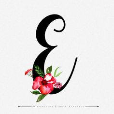 Watercolor Floral Background Of The Letter E - # E Letter Design, Letter E Art, Alphabet Letters Design, Floral Letters, Monogram Letters, Lettering Design, Hand Lettering, Monogram Wallpaper, Stylish Alphabets