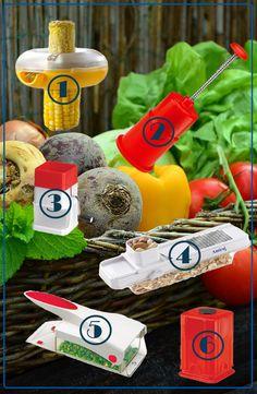 Five kitchen appliances to cut down your chopping time. 1 - corn peeler 2 - onion chopper 3 - chilli & dry fruit cutter 4 - slicer 5 - veggie chopper 6 - fruit and veggie finger chipper