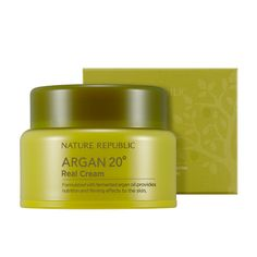 Nature Republic Argan 20º Real Cream 50ml    Features  This real cream is formulated with fermented argan oil provides nutrition and firming effects to the skin. High nutrition highly enriched Fermentation Argan Oil rich nutritional ingredient 20 kinds o