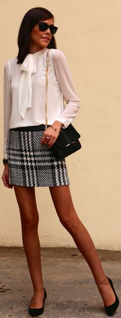 sheer white pussy-bow top + black & white skirt + purse