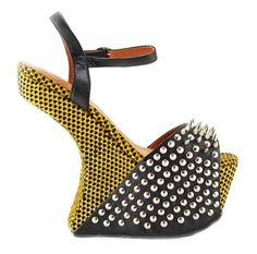 Jeffrey Campbell VICIOUS Heelless Wedge in Yellow Black Hearts available at FLYJANE