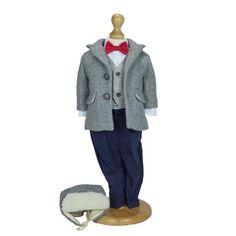 Costum băieței de toamnă-iarnă accesorizat cu palton, cămașa, vesta, papion și căciulă tip aviator  Materiale folosite:  lână, bumbac  Prețul afișat include 6 piese:  palton din lâna cu captușeala la interior cămașă din bumbac cu maneca lunga si inchidere prin nasturi vesta din lana cu inchidere prin nasturi pantaloni din stofa de bumbac, croiala slim-fit, cu sistem de inchidere cu fermoar si elastic in talie pentru lejeritate căciulă din lână tip aviator papion cu elastic Normcore, Costumes, Grey, Winter, Fashion, Gray, Winter Time, Moda, Fancy Dress